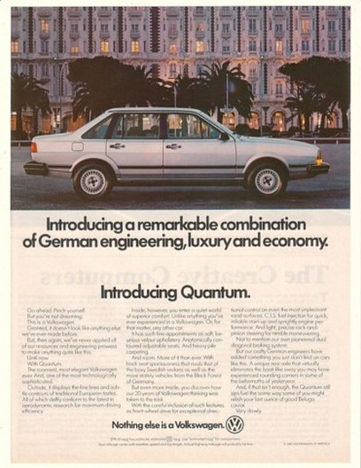 1982 VW Volkswagen Quantum Remarkable Combination Ad