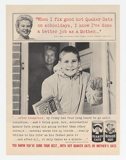 1961 Quaker Oats Mt Prospect IL Mother of 10 Jimmy Ad