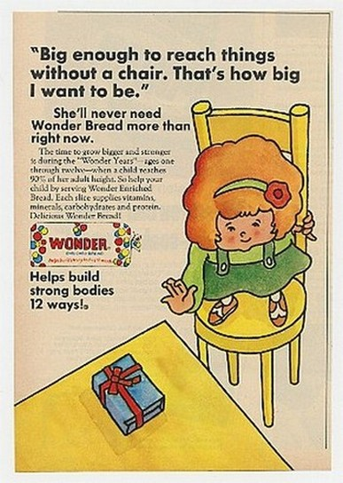 1970 Wonder Bread Big Enough to Reach Without Chair Ad