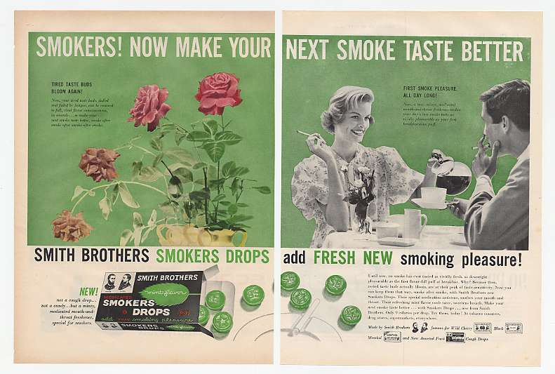 1958 Smith Brothers Medicated Smokers Drops 2-Page Ad