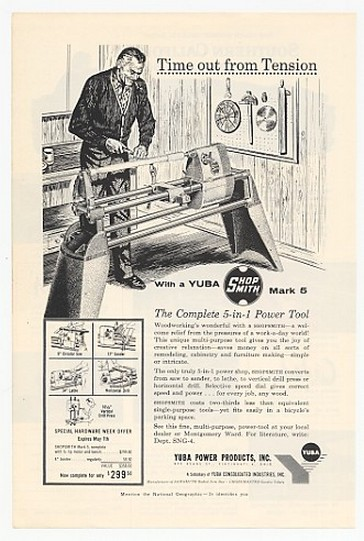1960 Yuba Shopsmith Mark 5 Power Tool Print Ad