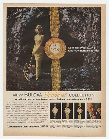1963 Bulova Sunburst Collection Watches Gold Mine Ad