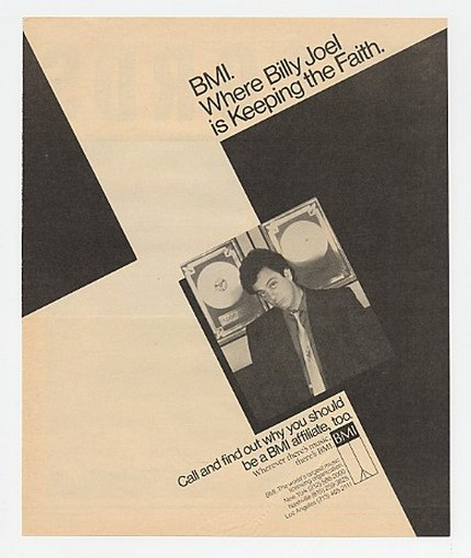 1985 Billy Joel Photo BMI Music Promo Ad