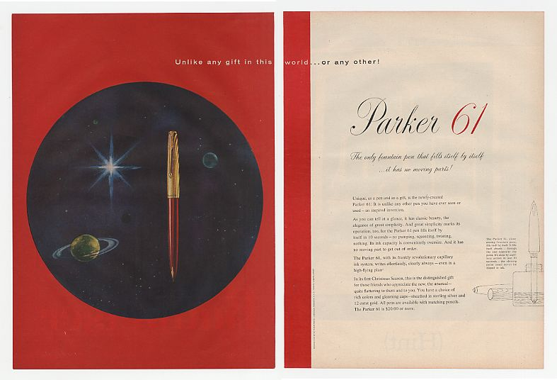 1956 Parker 61 Fountain Pen World Christmas 2-Page Ad