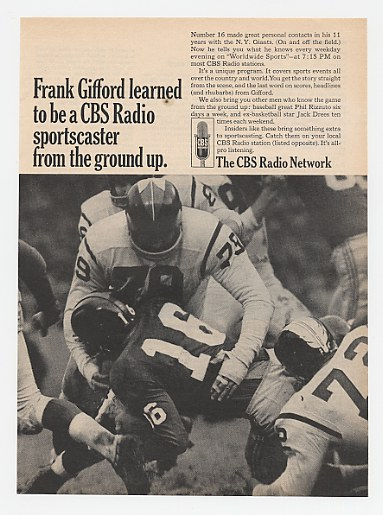 1966 Frank Gifford #16 NY Giants CBS Radio Network Ad