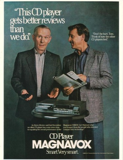 1987 Tom & Dick Smothers Photo Magnavox CD Player Ad