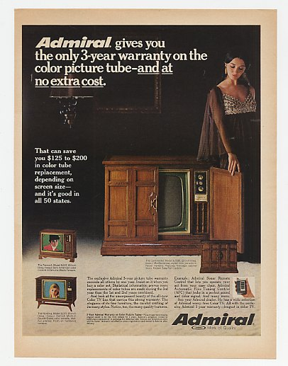 1969 Admiral Continental Fremont Nording Color TV Ad