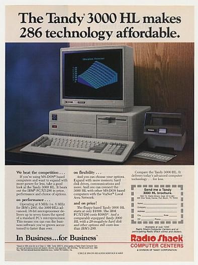 AdsPast.com - 1987 Radio Shack Tandy 3000 HL PC Computer ...