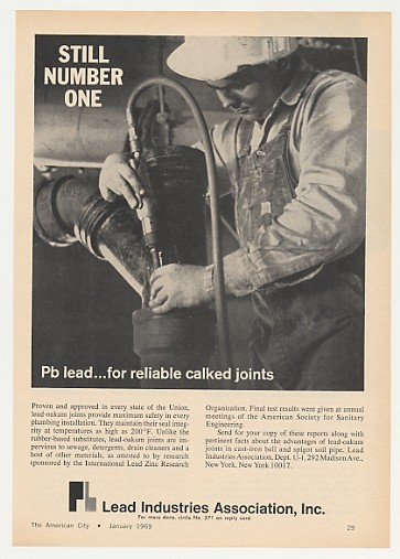 Adspast Com 1969 Pb Lead Oakum Pipe Joints Lead