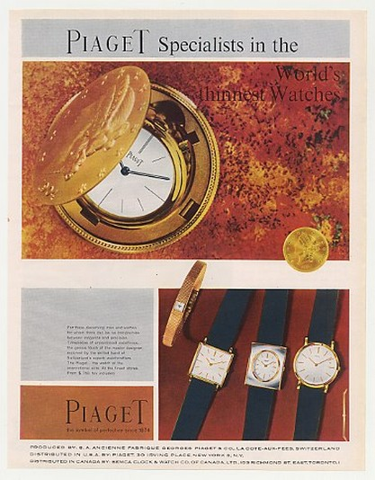 1959 Piaget World's Thinnest Watches 4 Styles Watch Ad