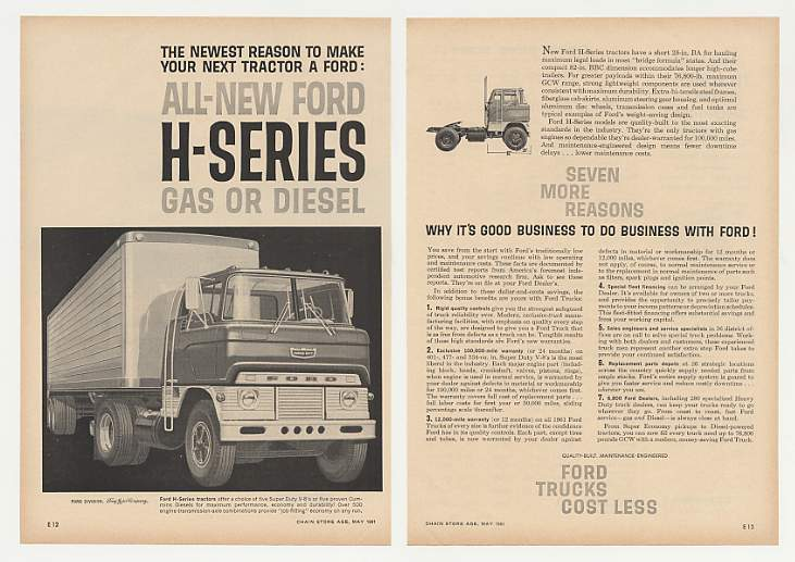 Adspast Com 1961 Ford H Series Tractor Super Duty Truck