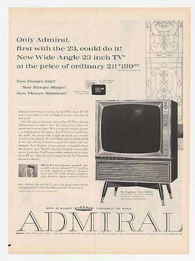 Adspast Com 1960 Admiral Copeland Model T24k110 Tv Print Ad