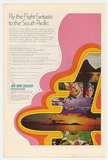 1970 Air New Zealand Airlines Flight Fantastic S Pac Ad