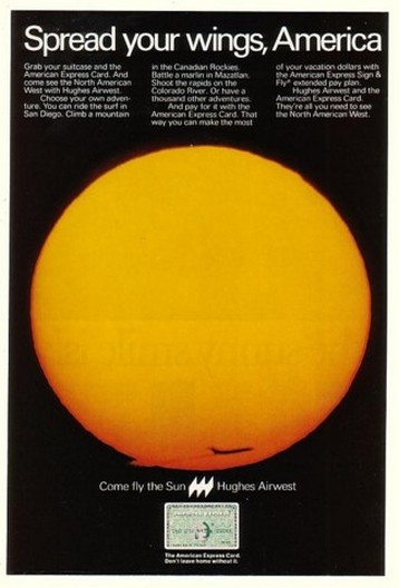 1975 Fly the Sun Hughes Airwest American Express Ad