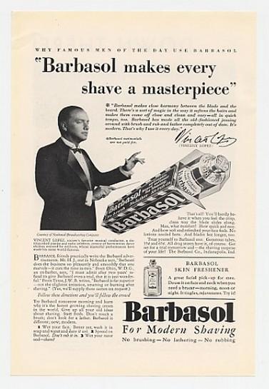 1930 Conductor Vincent Lopez Barbasol Shaving Cream Ad