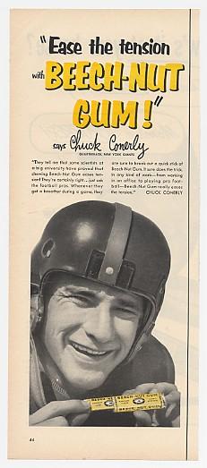 1952 NY Giants Chuck Conerly Photo Beech-Nut Gum Ad
