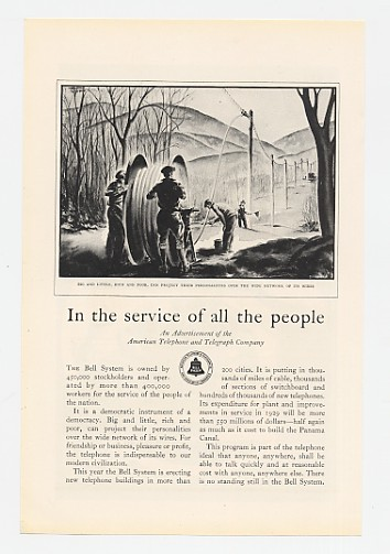 1929 Bell Telephone Service All People Cable Install Ad