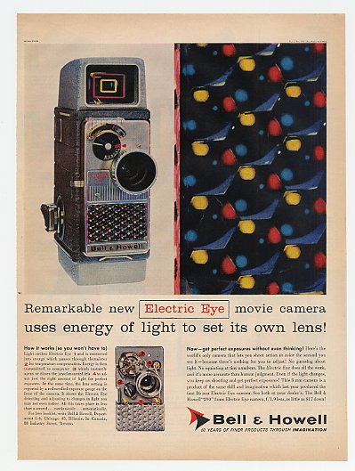 1957 Bell & Howell Electric Eye Movie Camera Print Ad