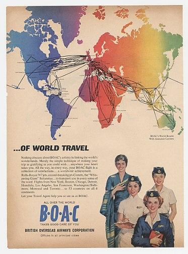 1962 BOAC British Airways Modern Art World Travel 2P Ad