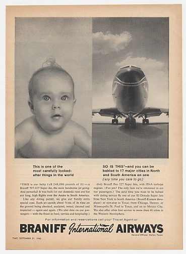 1962 Braniff Int'l Airways Baby 707-227 Super Jet Ad