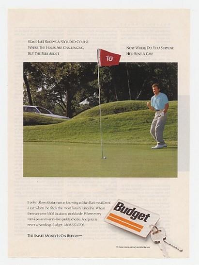 1990 Golfer Stan Hart Photo Budget Rent a Car Ad