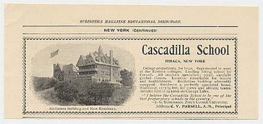 1899 Cascadilla School for Boys Ithaca New York Ad
