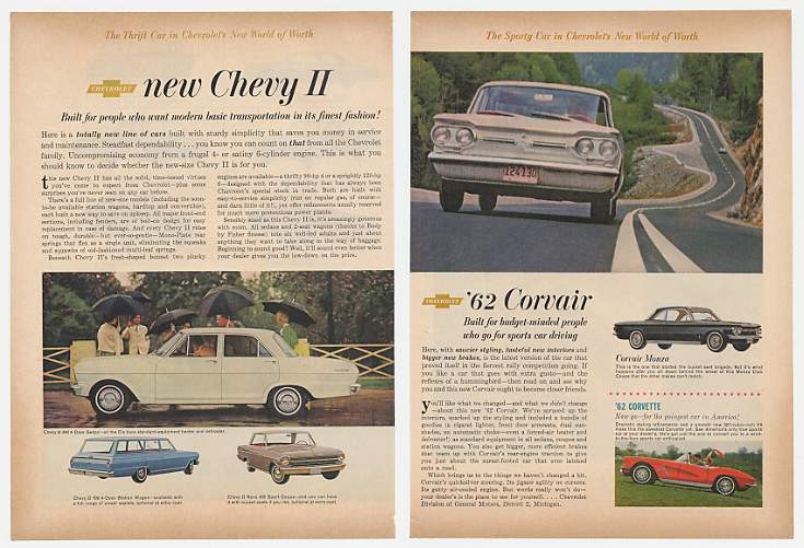 '61 1962 Chevy Impala Bel Air II Corvair Corvette 4P Ad