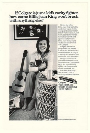 1973 Billie Jean King Photo Colgate Toothpaste Ad