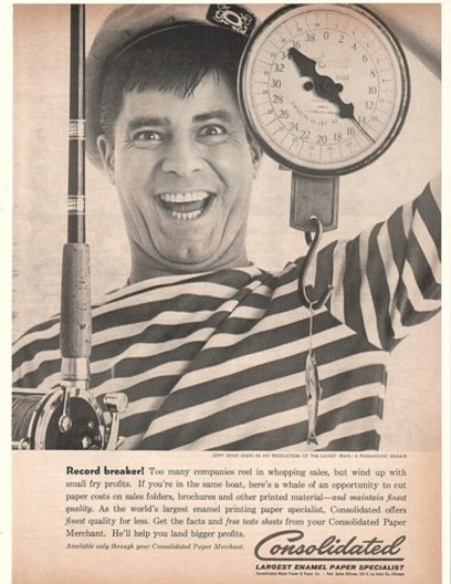 1961 Jerry Lewis Fish Fishing Consolidated Paper Ad