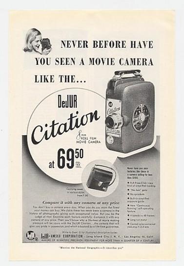 1950 DeJur Citation 8mm Movie Camera Print Ad