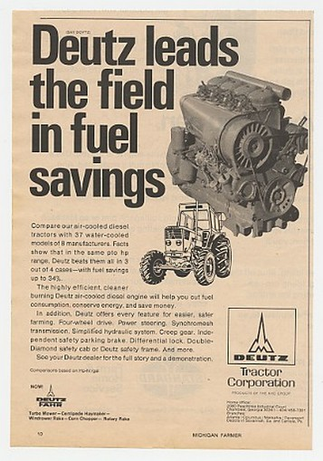 1974 Deutz Air-Cooled Diesel Tractor Engine Ad