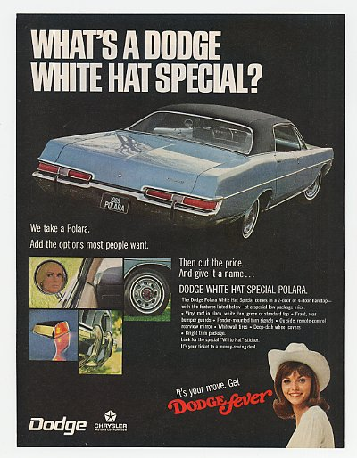 '68 1969 Dodge Polara White Hat Special 4-Dr Hardtop Ad
