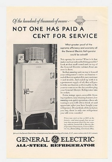 1930 General Electric Refrigerator No Service Cost Ad