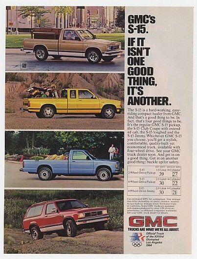 '82 1983 GMC S-15 Pickup Club Coupe Longbed Jimmy Ad