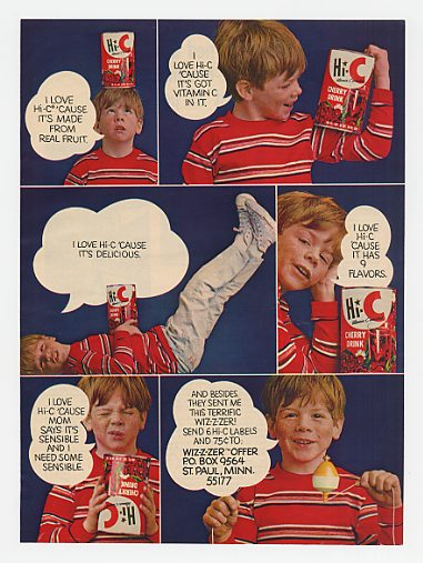 1970 Cherry Hi-C Drink Boy I Love Wizzzer Offer Ad