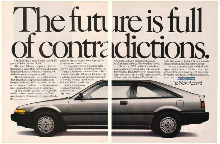'85 1986 Honda Accord DX Hatchback Contradictions 2P Ad