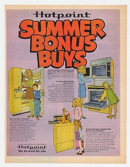 1971 Hotpoint Refrigerator Range Washer Bonus Buys Ad