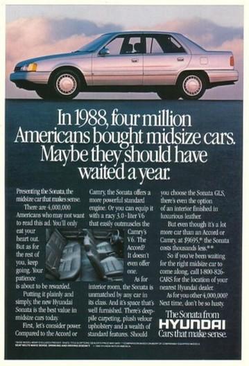 '89 1990 Hyundai Sonata Buyers Should Waited a Year Ad