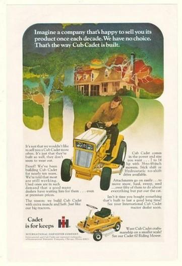 1971 IH International Cub Cadet Lawn Tractor Ad