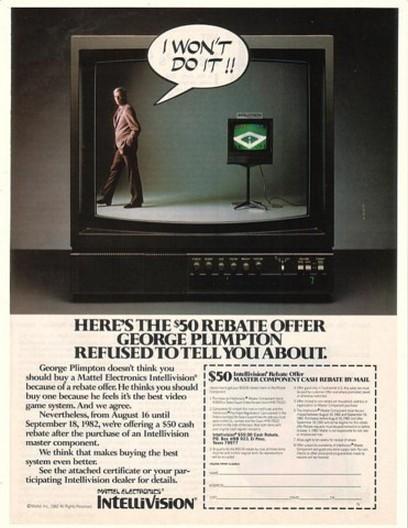 1982 George Plimpton Intellivision Rebate Print Ad
