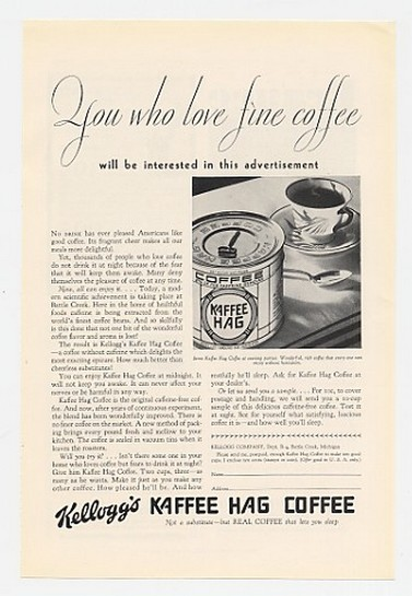 1930 Kellogg's Kaffee Hag Love Fine Coffee Can Ad