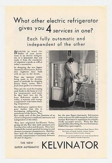 1930 Kelvinator Super-Automatic Refrigerator Ad