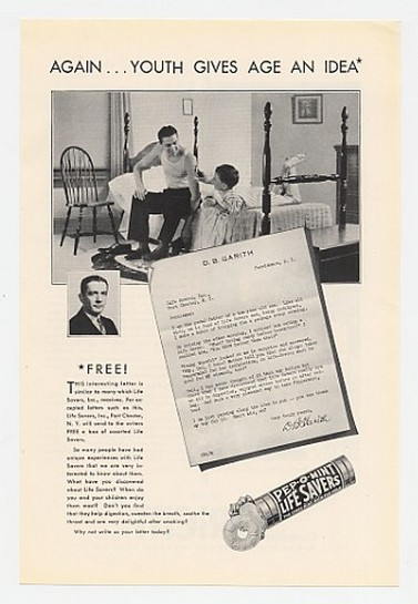 1930 Pep-O-Mint Life Savers DB Garith Letter Ad