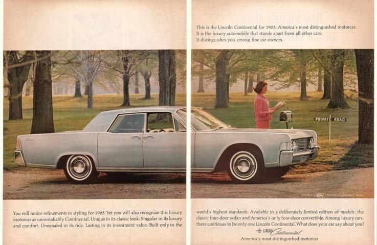 '64 1965 Lincoln Continental 4-Door Sedan 2-Page Ad