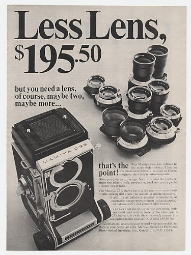 1967 Mamiya C33 Camera & Lenses Print Ad