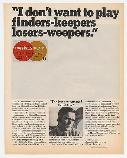 '71 Master Charge Finders-Keepers Losers-Weepers Law Ad