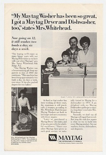 1981 Mrs Nancy Whitehead Oak Ridge NJ Maytag Washer Ad