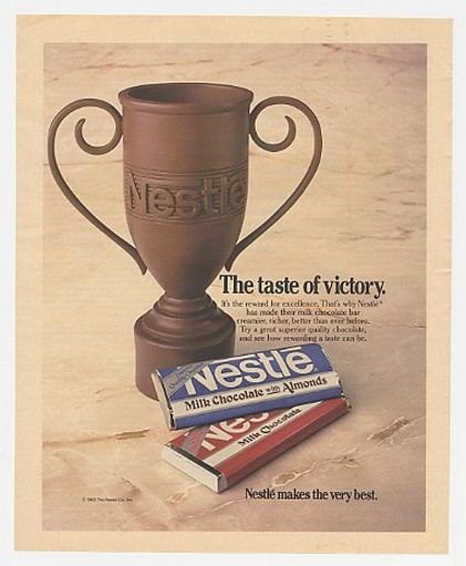 1984 Nestle Milk Chocolate Bar Trophy Taste Victory Ad