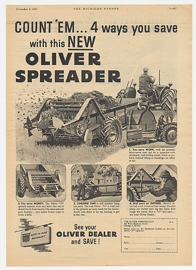 1952 Oliver 17 Spreader 4 Ways You Save Ad