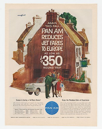 1961 Pan Am Airlines Reduces Jet Fares Europe Houses Ad